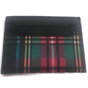 J. Crew Accessories - J. Crew Plaid Leather Slip Card Case